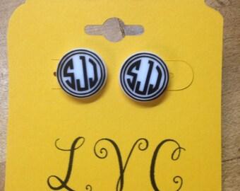 16mm Acrylic Momogrammed Earrings
