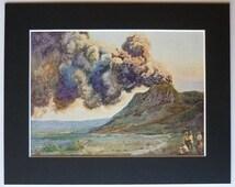 1930s Vintage Volcano Print of Mount Bromo - East Java Landscape Art - Vintage Indonesian Decor - South East Asia Art - Volcano Eruption Art