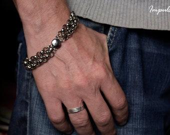 Chunky silver chain link bracelet for men, Heavy silver bracelet, Silver chain link bracelet