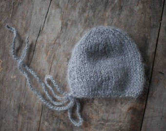 Newborn Boy Gray Bonnet ,Photo Props Baby Boy Hat ,Newborn Boy Knit Gray  Hat , Baby Boy Mohair Hat
