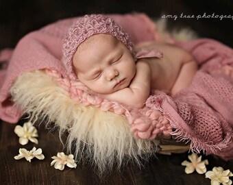 Dusty Pink Newborn Bonnet ,Photo Props Antique Pink Bonnet ,Newborn Girl Knit Hat , Baby Pink Bonnet Hat
