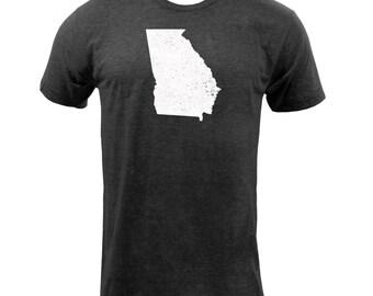 Distressed Georgia State Shape - Tri Black