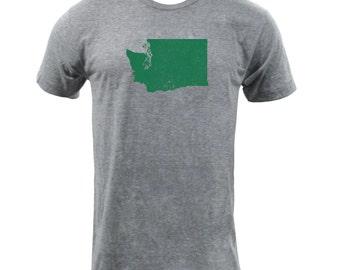 Distressed Washington State Shape - Athletic Grey