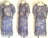 90s Dress CYNTHIA STEFFE Vintage Blue Lavender and White Top and Skirt S Free Domestic and Discounted International Shipping