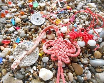 Beach found coin charms, beachcombed charms on red string, greek shore findings