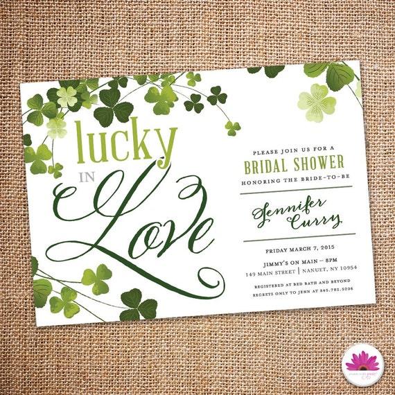Lucky In Love Bridal Shower Invitation Digital File