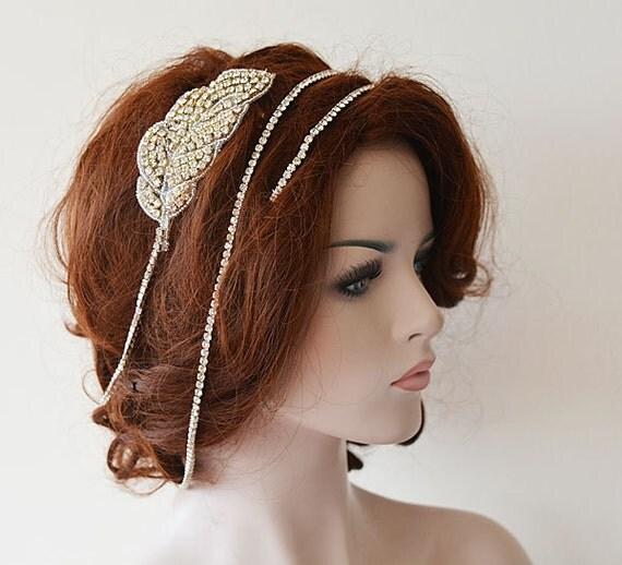 Wedding Hair With Rhinestone Headband : Bridal hair accessories rhinestone headband wedding