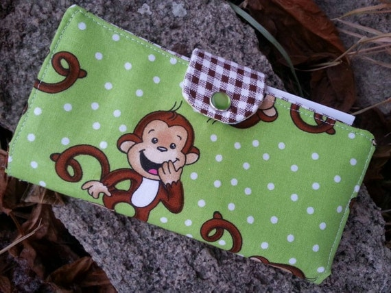 Monkey Checkbook Cover,  Coupon Wallet