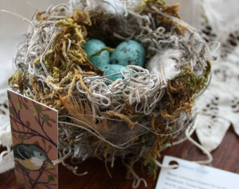 Easter, shabby-chic, handmade bird nest with blue eggs