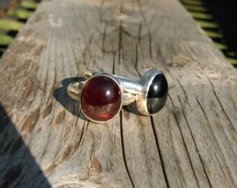 Garnet cabochon ring in sterling silver