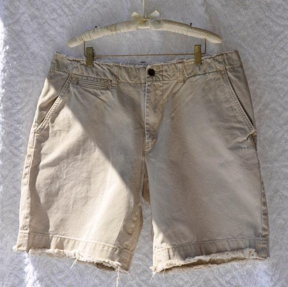 Mens Ralph Lauren Distressed Khaki Shorts/ RL Polo Preppy