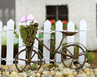 ETSY EDITORS PICKS Miniature Bicycle - bike for fairy garden - accessories for terrarium with pink mushrooms