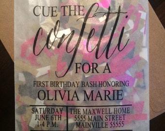 Cue the Confetti Invitation
