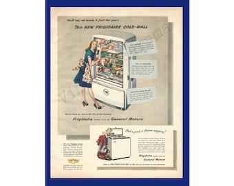 FRIGIDAIRE REFRIGERATOR / FREEZER Original 1947 Vintage Extra Large Color Print Ad - Albert Dorne Illustration - Housewife w/ Refrigerator