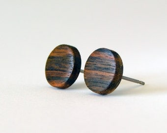 Ebony Wood Studs, wood earrings, unisex, mens stud earrings, wood stud earrings, men's studs, wood post earrings, natural wood studs