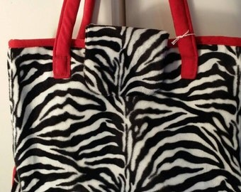 Sale Price - Large zebra microfiber bag