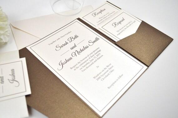 Ivory Wedding Invitation Kits: Bronze And Ivory Pocketfold Wedding Invitation By