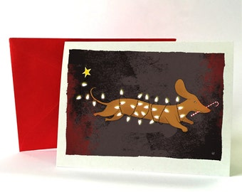 Holiday Cards  (5 cards with envelopes) Dachshund and lights.