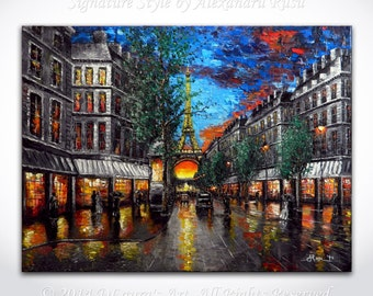 Paris Painting Eiffel Tower Art - Contemporary Art ORIGINAL Impressionism Cityscape Art Palette Knife Impasto Oil Painting 40x30 Alex Rusu