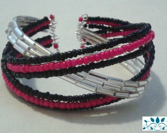 Black pink and silver bead braided bangle bracelet