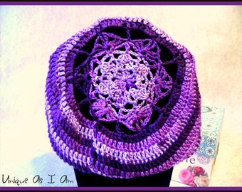 Crocheted Purple Super Slouchy Beret