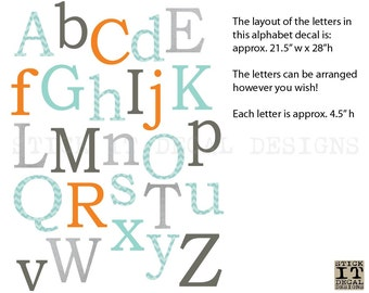 Alphabet Wall Decal, Nursery Wall Decal, Alphabet Wall art, alphabet decal, Aqua Chevron, Orange & Grey Design