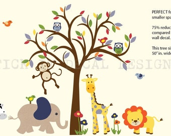 Safari Wall Decal, Nursery Wall Decal, Jungle Animal wall decal, monkey decal, Nursery, Wall Sticker, Smaller Gingham Design