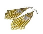 Beaded Earrings In Yellow And Crystal, Tribal Chandelier Style With Fringe