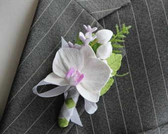 Weddings. Buttonhole Boutonniere for men. Polymer clay flower.