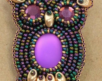 TUTORIAL: Bead Embroidered Owl Brooch Tutorial PDF - A Seed Bead Pattern