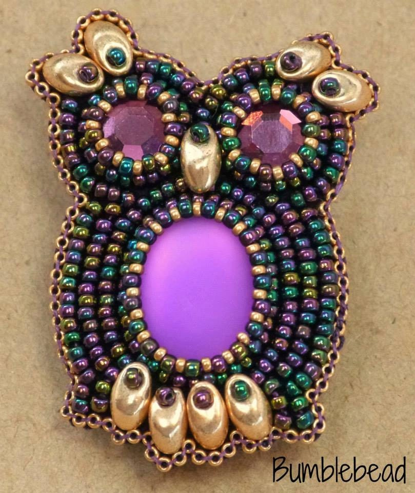 Embroidered Beads: TUTORIAL: Bead Embroidered Owl Brooch Tutorial PDF A Seed