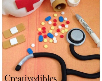 Medical Theme fondant cake toppers
