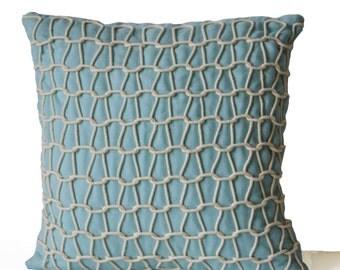 Light Blue Decorative Pillow Cover -Blue Linen Pillow Case -Blue White Cord Pillow -Dori Accent Pillow -16x16 -Gift -Nautical Oceanic Decor