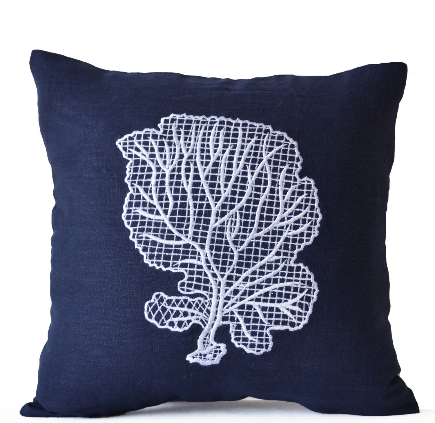 Decorative Pillows Navy : Navy Blue Throw Pillow Case Beach Decor Oceanic Pillow