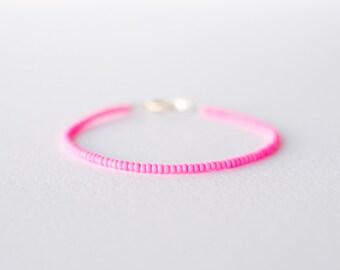 Neon pink bracelet - minimalist jewelry - friendship bracelet
