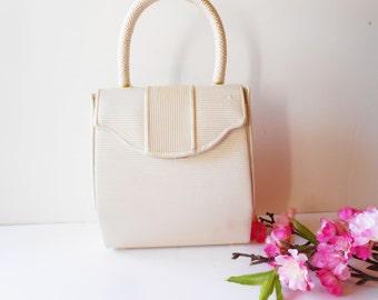 White Evening Bag Vintage Tailored White Handbag EB-0128