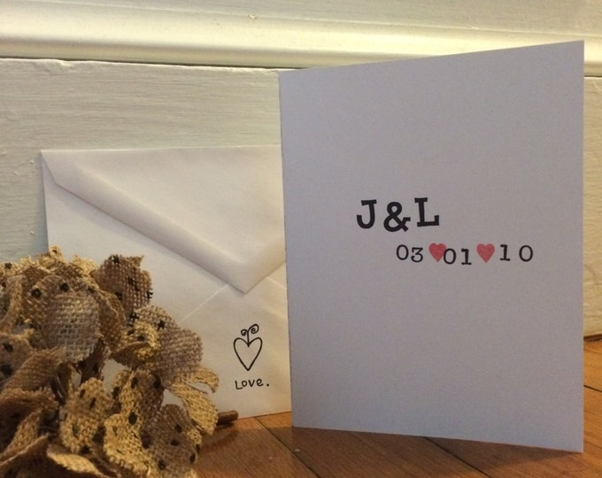 """Handmade, Unique, Hand Stamped, """"Initials & Date"""" Recycled Paper Greeting Card"""