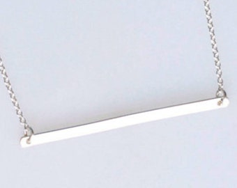 Long Sterling Silver Bar Necklace, Silver Bar Pendant, Simple Silver Necklace, Thin Silver Line, Sterling Bar