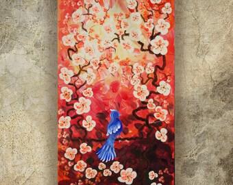 BIRD art on SAKURA TREE art love painting contemporary artwork red orange acrylic painting on canvas by Ksavera gift ideas for her decor