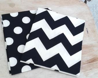 "Riley Blake Fat Quarter Le Creme Black Chevron on Cream and Cream Dot on Black Designer Quilt and Craft Fabric- 2 Pieces 18"" X 21"""