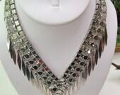 Sale...Vintage Silver Bib Necklace... Antique Silver Metal...  4 Links With Spike Fringe Bottom...Gothic Necklace