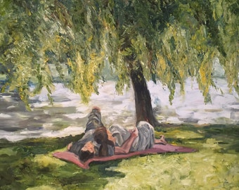 "Couple under tree ""The Romantics"" Digital matted print, 11x14"" white mat"