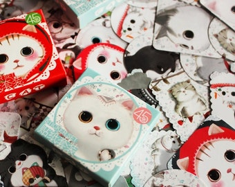 Lovely Cat Paper Stickers - Total 45  Stickers