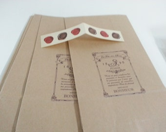 Lovely  Envelope Paper Bag - 6 Bags + 6 Stickers