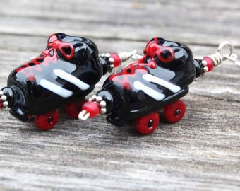 Roller Skate Earrings, Roller Derby Jewelry, Roller Derby Earrings, Glass Roller Skates, Lampwork Roller Skates, Handmade Glass Beads