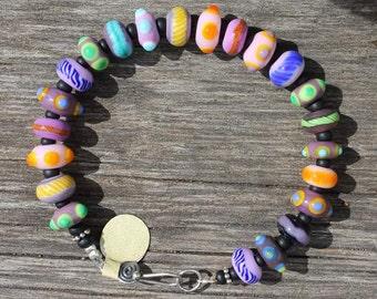 Motley Hues Bracelet-purple, Purple Bracelet, Purple Beads, Lampwork Beads, Lampwork Glass, Handmade Glass, Handmade Beads,Colorful Bracelet