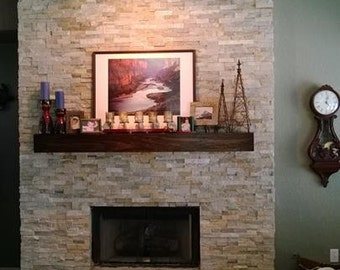 84 inch Floating modern rustic mantel. 7 foot mantel