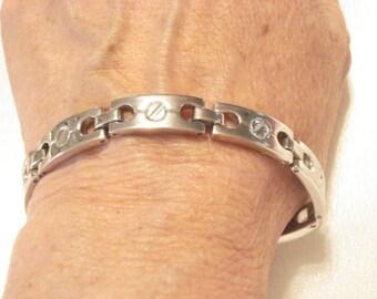 "Vintage Men's Stainless Steel Link Bracelet Link 9"", 30 Grams"