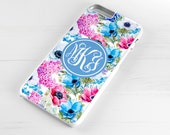 Personalised iPhone 6 Case iPhone 5c iPhone 5s iPhone 6 plus cover - monogrammed name monogram - Floral Flowers Spring Bloom - PC0004