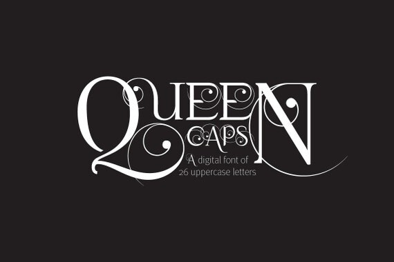 digitale schrift queen caps schriftart elegante. Black Bedroom Furniture Sets. Home Design Ideas